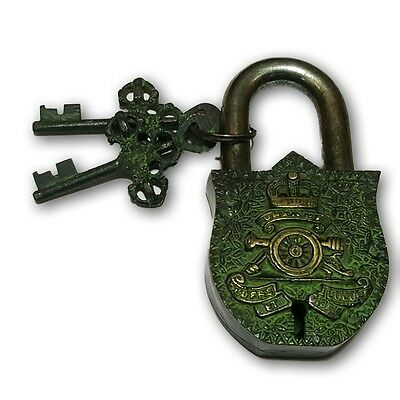 unique antique brass crown lock w keys collectible padlocks  BL 018