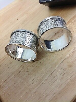 Antique boxed Sterling Silver Napkin Rings Hallmarked