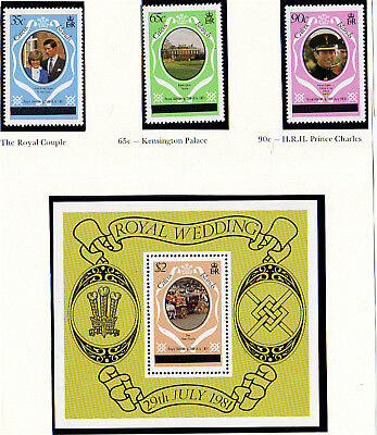 Caicos Islands 1981 Royal Wedding Set & Miniature Sheet London Printing Mnh