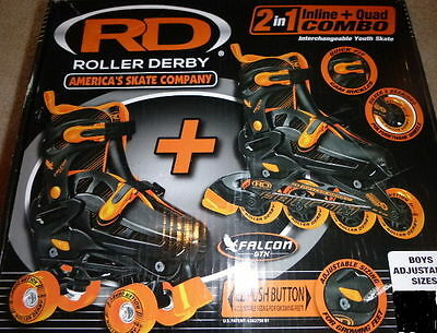 NEW! ROLLER DERBY FALCON GTX INLINE/ROLLER COMBO SKATES BOYS 12-2 Abec 3 return