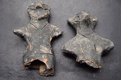 Two Rare Ancient Prehistoric Baked Clay Idols 5000 Bc