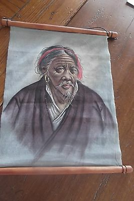 VINTAGE ASIAN PORTRAIT PAINTING ON CANVAS SCROLL HIGH QUAILTY Chinese