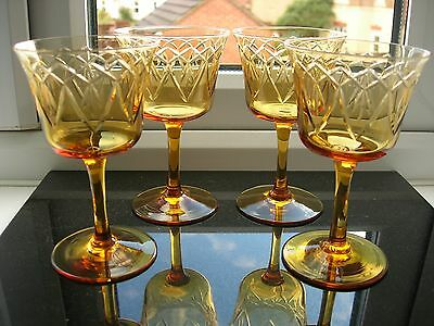 Vintage Set Of Four Cut Amber Small Wine Glasses.