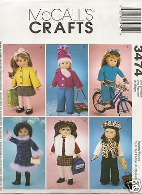 3474 18 Inch Doll Clothes New Sewing Pattern Mccalls 3474