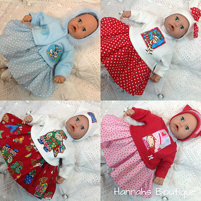 "Hannahs Boutique Christmas Baby Dolls Clothes-Outfits To Fit 17-19"" Play Dolls"