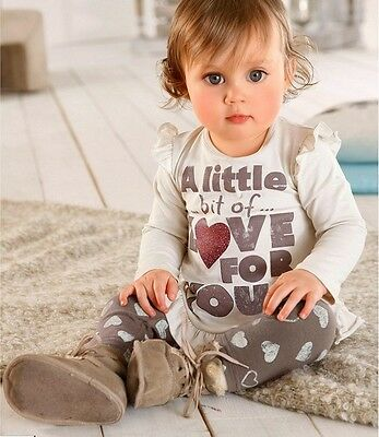 Cute Girls'/toddlers 2 pieces love heart Tunic Top and legging outfit