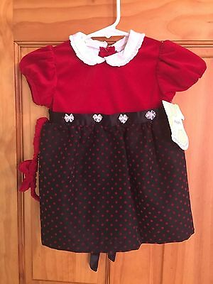 Itty Bitty 18 Month Dress with Headband NWT Red Black Infant Toddler Girls