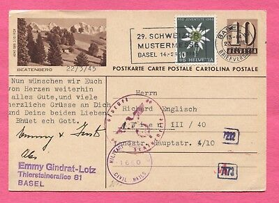 1945 Switzerland Basel Can Postal Card Stationery Civil Censored To Austria
