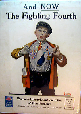 Original WWI War Poster, And Now The Fighting Fourth, Norman Rockwell,1918