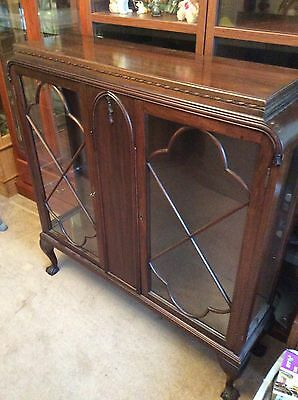 vintage glazed mahogany display cabinet with ball claw feet