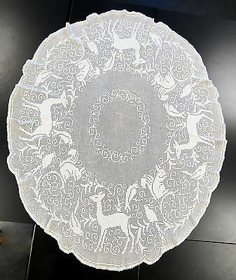 """Vintage Crocheted Lace Tablecloth Deer Squirrels Birds Cotton Oval 56"""" x 68"""""""