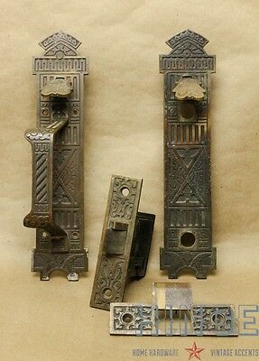 Antique Eastlake Brass Thumb Latch, Strike plate and mortise latch Item440h