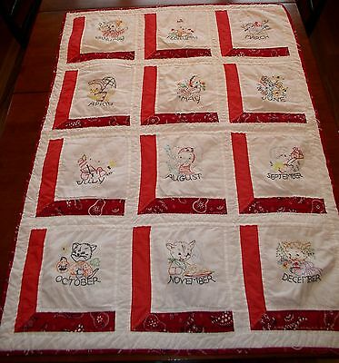 Vtg Hand Stitched Baby Blanket Crib Quilt Months of Year Animals Embroidery Cute