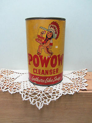 Vintage Powow Cleaner Tin Can West Coast Soap Full Unopened Indian Graphics