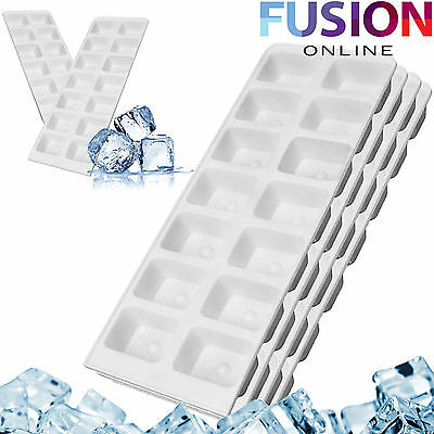 4 x CLEAR PLASTIC ICE CUBE MAKER TRAY ICE TRAY TOTAL 56 CUBES PACK OF 4