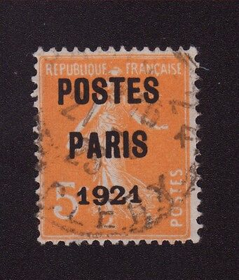 Preoblitere N°27 5 C Orange Semeuse Poste Paris 1921 027