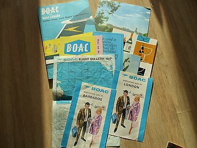 Vintage Lot Of B.o.a.c Boac Cunard Route Maps - Flight Info -  Menu  - Comet 4