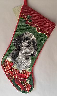 needlepoint stocking Shih tzu