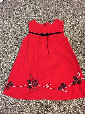 Healthex Toddler Girls Red Corduroy Holiday Christmas Dress, Size 3t