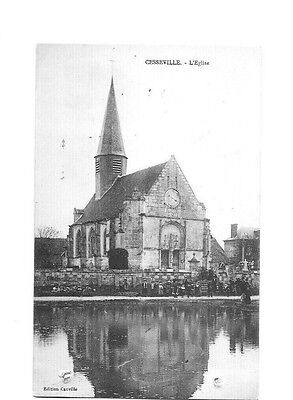 27 - Cpa -Cesseville - L'eglise - 1913 - Animee