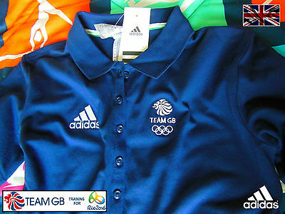 Adidas Team Gb Issue - Training For Rio In 2016 - Athlete Girl's Navy Polo Shirt