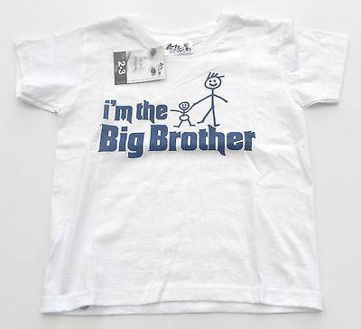 Dirty Fingers T Shirt boy 2-3 years white I'm the Big Brother NEW!
