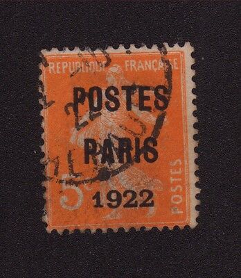 Preoblitere N°30 5 C Orange Semeuse Poste Paris 1922 030