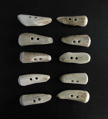 """Nice Antler Buttons,1  1/2""""toggles,tines,10 Chubby Stubby Pieces,112-7"""