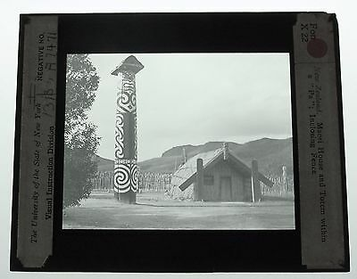 "Maori Totem Pole And House Within a ""PA""~New Zealand~Antique Glass Lantern Slide"