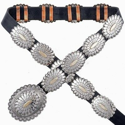 AFFORDABLE AUTHENTIC NAVAJO Silver Gold Second Phase Concho Belt UNISEX