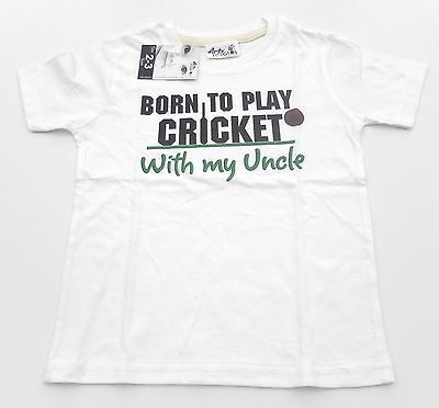 Dirty Fingers T Shirt boy/girl 2-3 years white play cricket with my Uncle NEW!