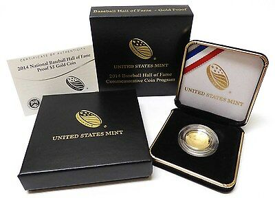 2014-W Hall of Fame Proof Gold $5 Curved Baseball Coin With Original Box & COA
