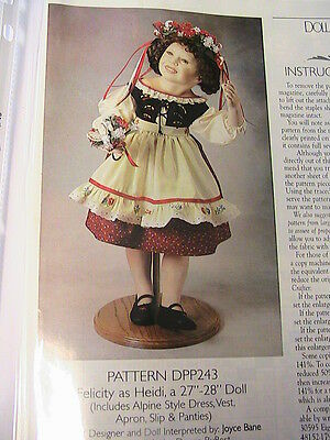 """HEIDI 27-28"""" alpine style outfit~RARE OOP 1996 whimsical cloth art pattern"""