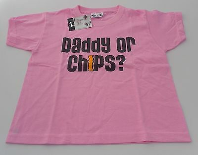 Dirty Fingers T Shirt boy/girl 3-4 years pink Daddy or chips? NEW!