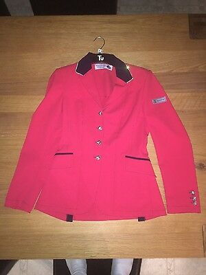 New size 10 Equiport Technical red show jacket with Swarovski diamonds RRP £356