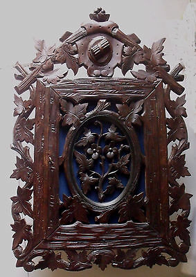 LARGE Antique 19th Century Black Forest Hand Carved Hanging Cabinet Cupboard