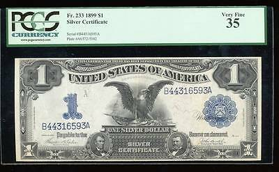 AC Fr 233 1899 $1 Silver Certificate PCGS 35 Black Eagle!!!