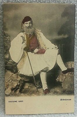 Greek Greece Color Tinted Postcard Man in Traditional Dress Costume Pre 1907