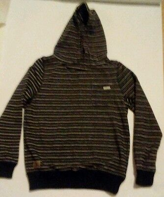 BNWT Boys Childrens  Striped Black White Hoodie Pullover Hoody Age 12 Free Post