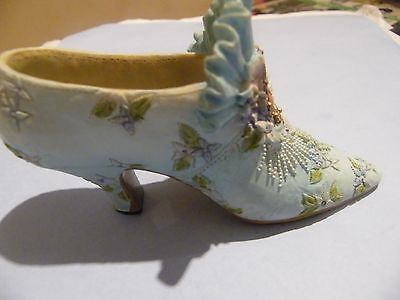 Lovely Little Minature Pale Turquoise High Heel Shoe With Cameo On The Front