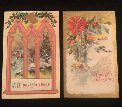 Antique EMBOSSED CHRISTMAS POSTCARDS Lot of 2 Victorian 1915 Michigan USA #4