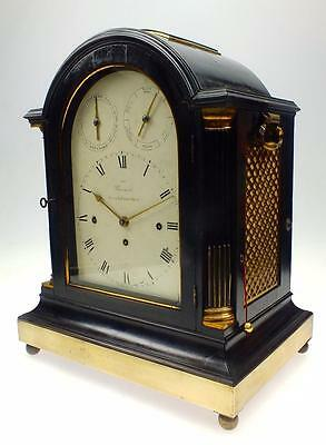 Georgian Ebony Triple Fusee Musical 14 Bell 6 Airs Bracket Clock Barnards London