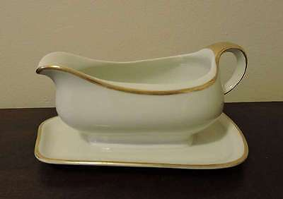 Vtge KPM Germany White Porcelain Gold Trim Gravy Boat w Attached Underplate
