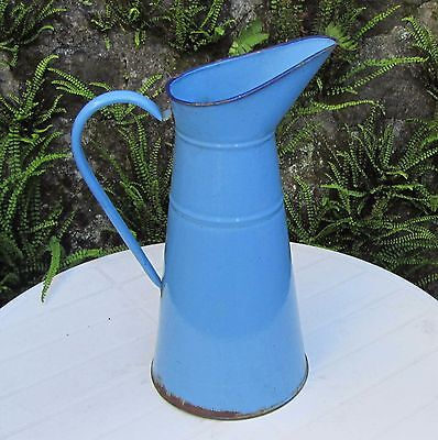 "VINTAGE FRENCH MID BLUE 15.5"" ENAMEL PITCHER WATERTIGHT ANTIQUE JUG 39cm VGC"
