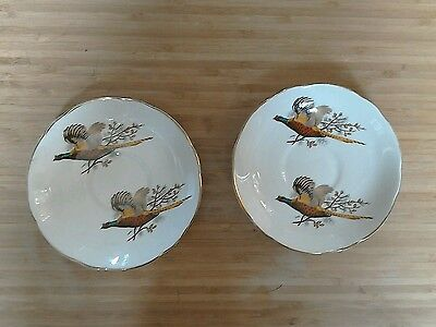 2 pheasant game bird royal stuart fine bone china saucers gold rim