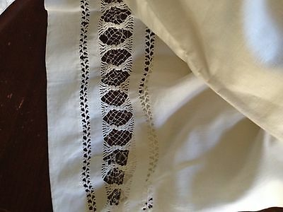 "ANTIQUE (c 1890's) LINEN BED SHEET HAND CROCHET LACE  86"" W X 81"" L"