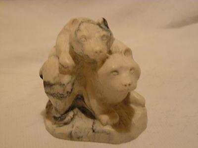 Vintage Carved Soapstone Figurine of Bear Cubs Playing