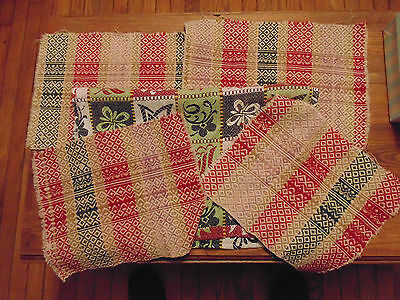 Overshot Woven Wool & Cotton Cutter Fabric Xmas Colors 5 PC Lot Vintage