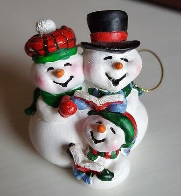 Vintage Snowman family singing Christmas Tree Ornament Hanging