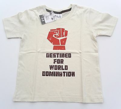 Dirty Fingers T Shirt boy/girl 3-4 years natural World Domination NEW!